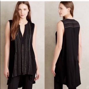 Anthro Deletta Eve Shimmer Pleated Tank Blouse